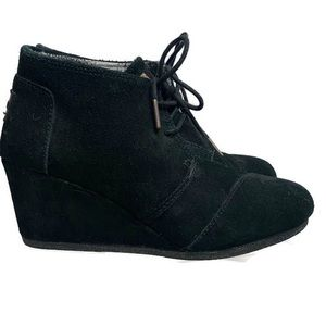 Toms Lace Up Wedge Ankle Boots Black